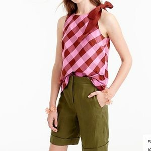 0 NWT J. Crew Bow Shoulder Top Oversized Gingham